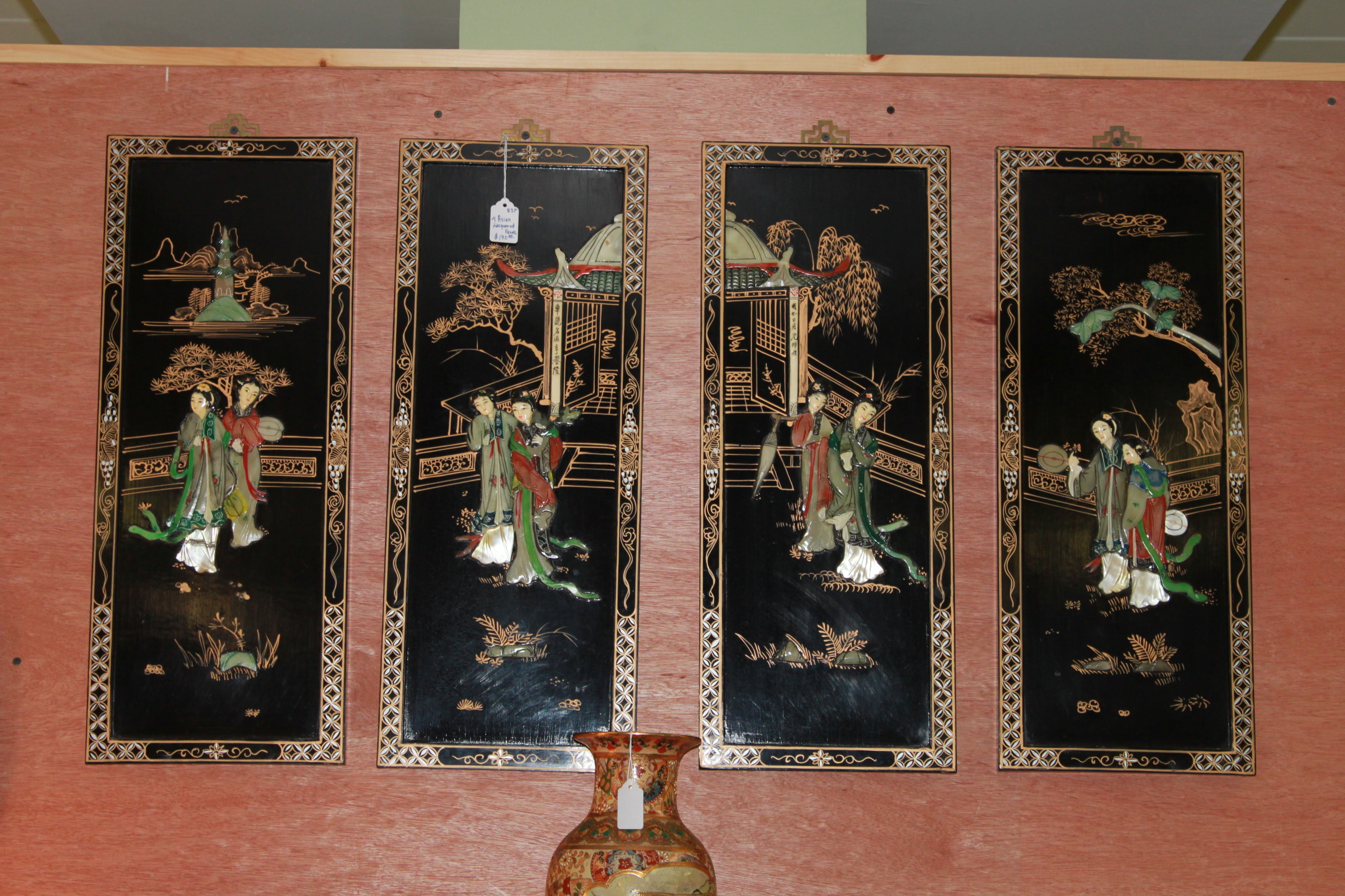 4 Asian Lacquered Panels
