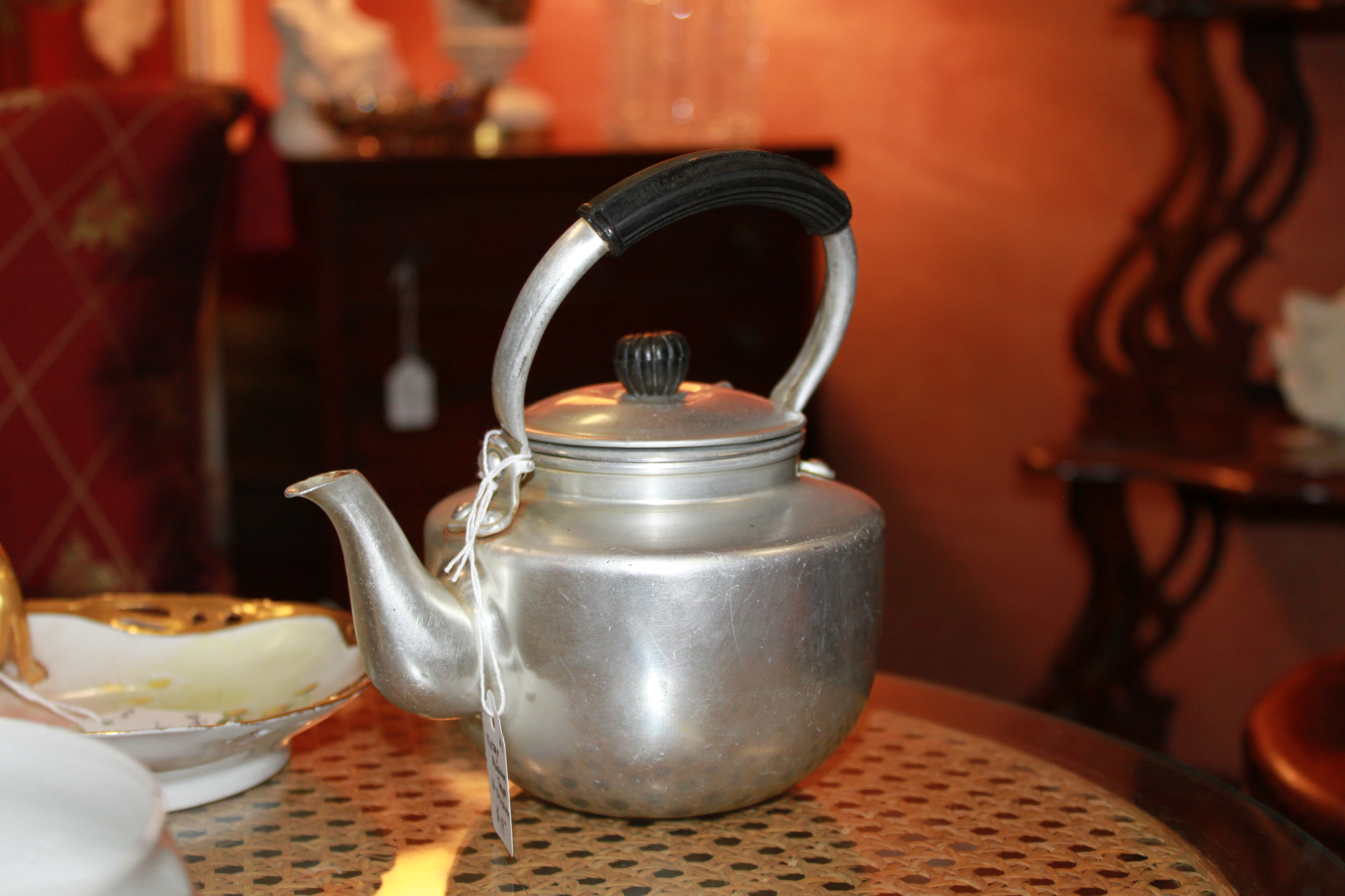 Vintage Aluminum Teapot with Strainer